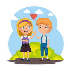 Happy kids couple characters vector