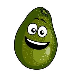Happy ripe green cartoon avocado pear vector image
