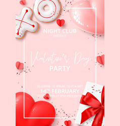 Happy valentines day party poster vector