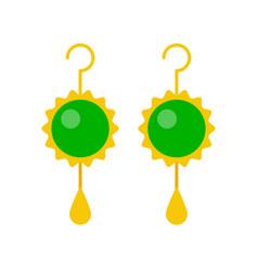 Jade stone or emerald drop earring jewelry vector