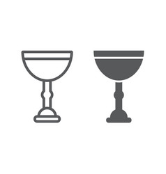 Jewish goblet line and glyph icon cup and judaism vector