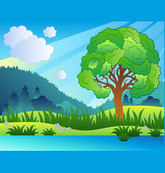 landscape with leafy tree and lake vector image
