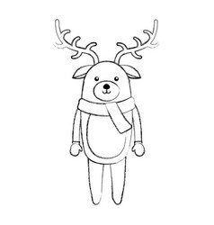 Line icon christmas deer cartoon vector