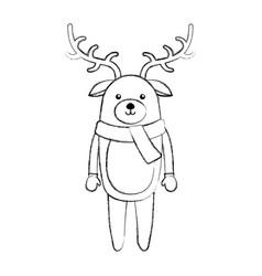 Line icon christmas deer cartoon vector