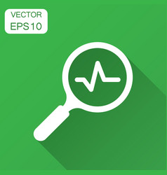 Magnifying glass icon with pulse with long shadow vector