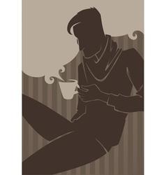 man drinking coffee vector image