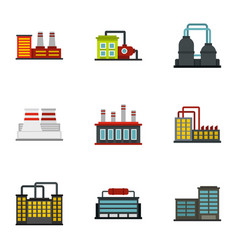 manufacturing plant icons set flat style vector image