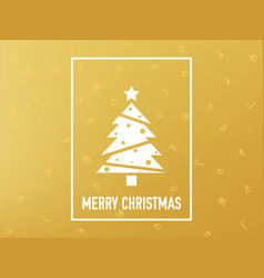merry christmas card gold christmas tree on vector image