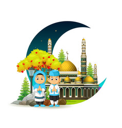 Mosque with kids and crescent moon vector