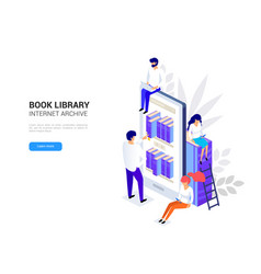 online library concept smartphone vector image