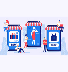 online shopping concept boy and girl vector image