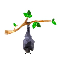 Origami bat hanging on branch vector
