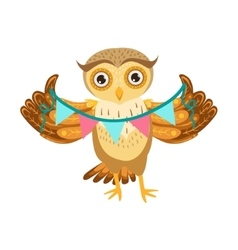 Owl Holding Paper Garland Cute Cartoon Character vector