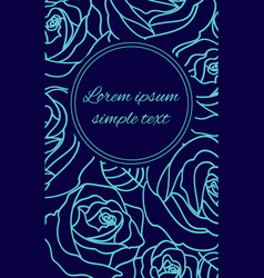 Pale blue outline roses on the navy greeting card vector