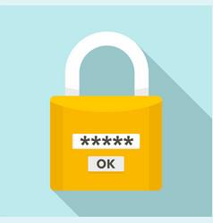 Password lock icon flat style vector