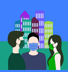 People wearing medical masks to prevent air vector