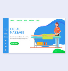 Professional face skincare therapy webpage vector
