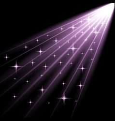 Rays of light with stars purple color vector