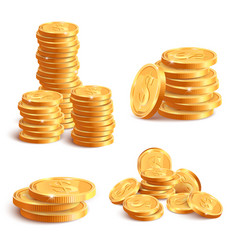 realistic coins pile golden coin dollar stack 3d vector image