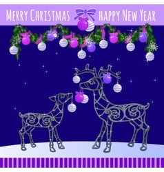 Reindeer family with Christmas balls and garland vector