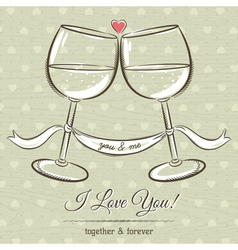 romantic card with two glass of wine vector image