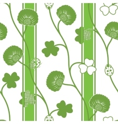 Seamless pattern green silhouette clover vector image