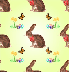 Seamless texture easter hare with butterflies vector image