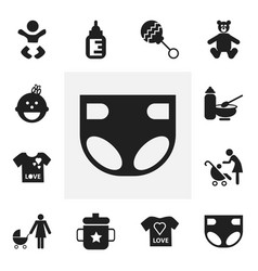 Set of 12 editable baby icons includes symbols vector