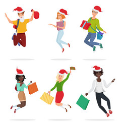 set of cheerful happy people jumping and dancing vector image
