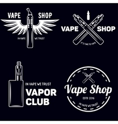 Set of vape e-cigarette emblems labels prints vector image