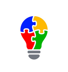 Simple light bulb globe with puzzle icon vector