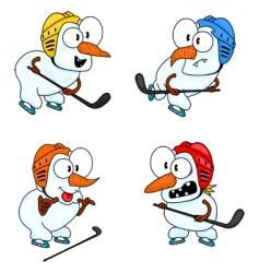 snowmen play hockey vector image