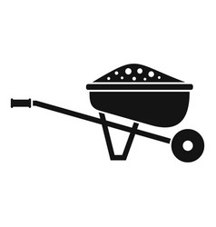Soil wheelbarrow icon simple style vector