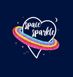 Space with heart print design with slogan vector