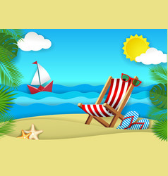 summer beach paper cut vector image