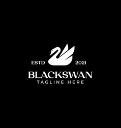 swan logo template in isolated black background vector image