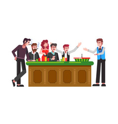 table for roulette wheel with players and croupier vector image