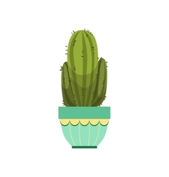 Tall Cactus With Two Branches In Blue Pot vector