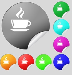 tea coffee icon sign Set of eight multi colored vector image