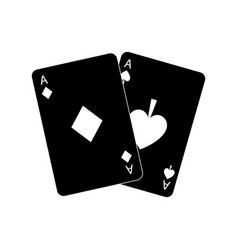Two aces playing cards poker casino icon vector