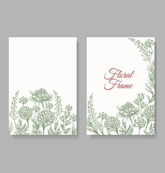 Vintage botanical card frame vector