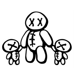 Voodoo doll twins parent vector