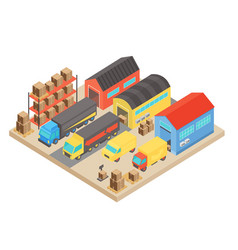 Warehouse isometric concept composition modern vector