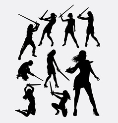 Warrior girl with sword silhouette vector image