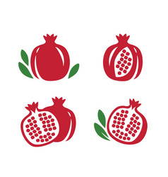 Whole and cut pomegranate icon set fruit vector