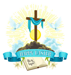 wooden cross with shroud bible and doves happy vector image