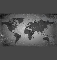 World map on grunge background vector image