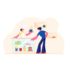 Young man customer buying pastry in bakery shop vector