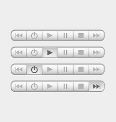 media buttons control panel with pressed buttons vector image
