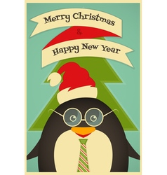 Merry Christmas Greeting Card with Cute Penguin vector image vector image